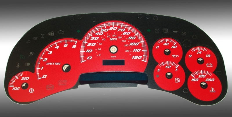 Hummer H2 2003-2005  Red / Blue Night Performance Dash Gauges