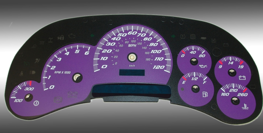 Cadillac Escalade 2003-2005  Purple / Blue Night Performance Dash Gauges