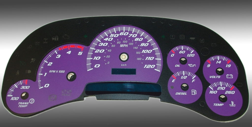 Chevrolet Silverado 2003-2005 Hd Purple / Blue Night Performance Dash Gauges