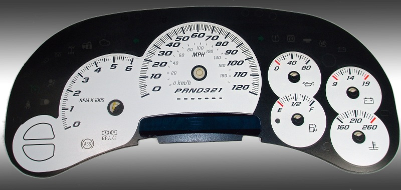 Gmc Sierra 2006-2007 Classic White / Blue Night Performance Dash Gauges