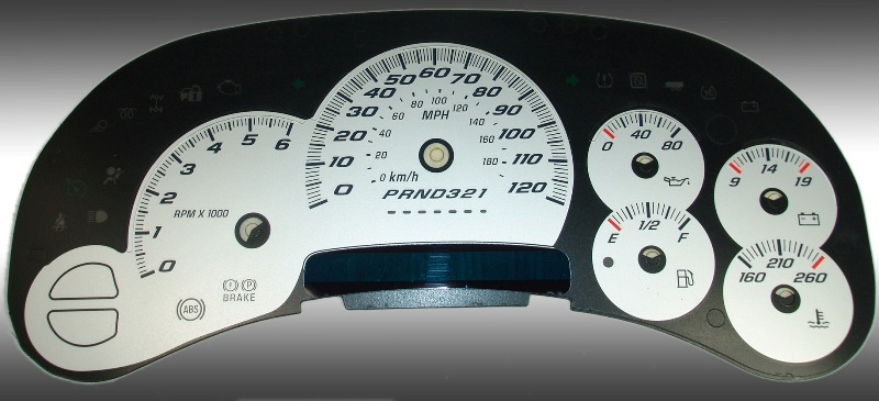Chevrolet Silverado 2006-2007 Classic Silver / Blue Night Performance Dash Gauges