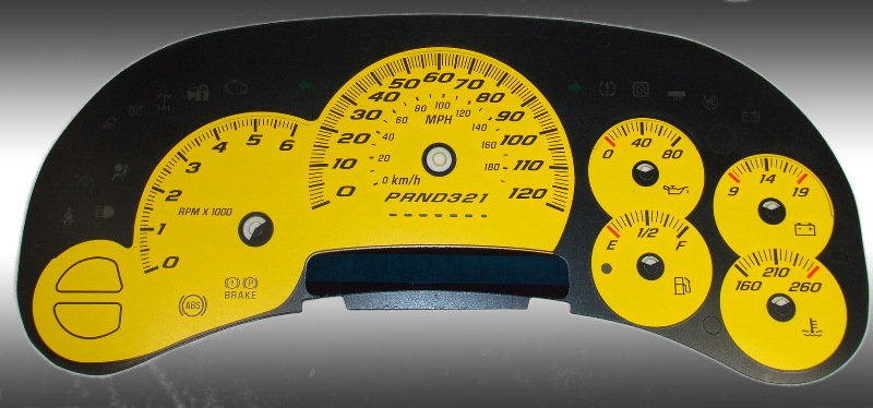 Chevrolet Tahoe 2006-2007 Classic Yellow / Blue Night Performance Dash Gauges