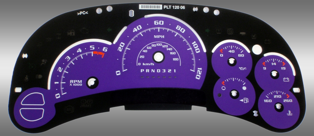 Chevrolet Silverado 2006-2007 Classic Purple / Blue Night Performance Dash Gauges