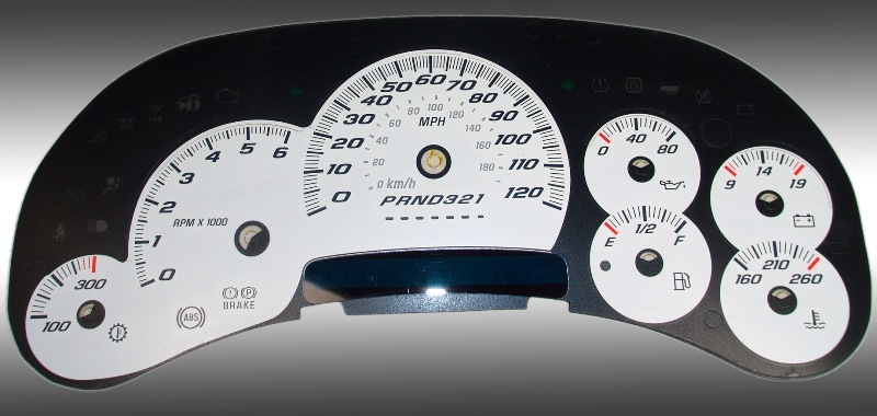 Cadillac Escalade 2006-2007  White / Blue Night Performance Dash Gauges