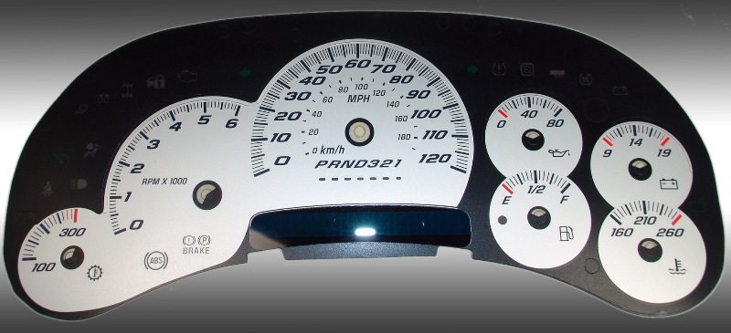 Cadillac Escalade 2006-2007  Silver / Blue Night Performance Dash Gauges