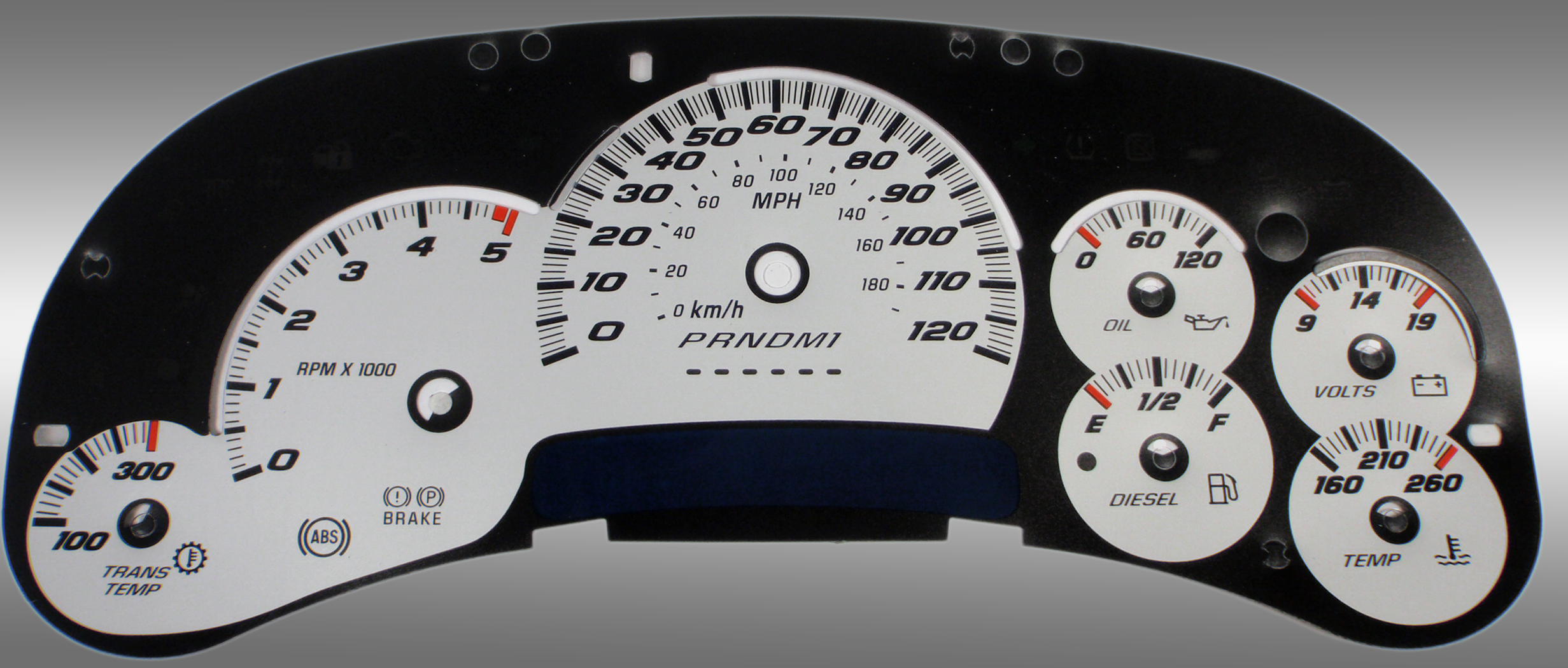 Gmc Sierra 2006-2007 Hd Classic Silver / Blue Night Performance Dash Gauges