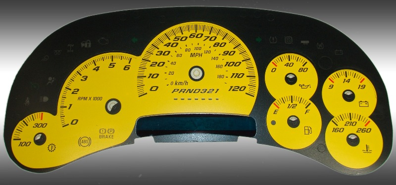Hummer H2 2006-2007  Yellow / Blue Night Performance Dash Gauges