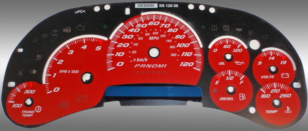 Gmc Sierra 2006-2007 Hd Classic Red / Blue Night Performance Dash Gauges