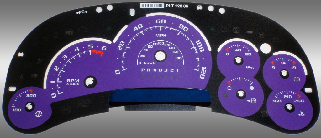 Hummer H2 2006-2007  Purple / Blue Night Performance Dash Gauges