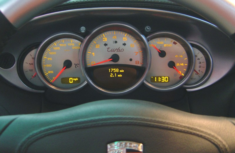 "Porsche 911 2002-2004 Carrera ""Turbo""    5 Parts 200 Mph 6 Spd Stainless Steel Gauge Face With Amber Numbers"