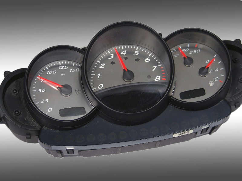 Porsche Boxster 2001-2004  150 Mph 8000 Tach Stainless Steel Gauge Face With White Numbers