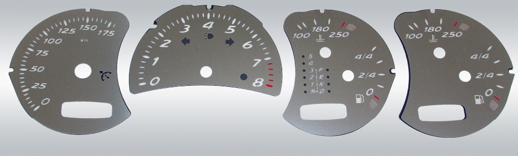 Porsche Boxster 2001-2004 S 175 Mph, 6spd & Tip Stainless Steel Gauge Face With White Numbers