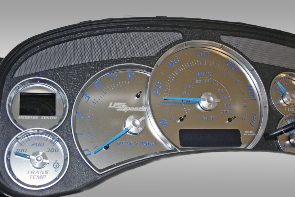 Cadillac Escalade 2002-2002  120 Mph, Trans Temp Stainless Steel Gauge Face With Blue Numbers