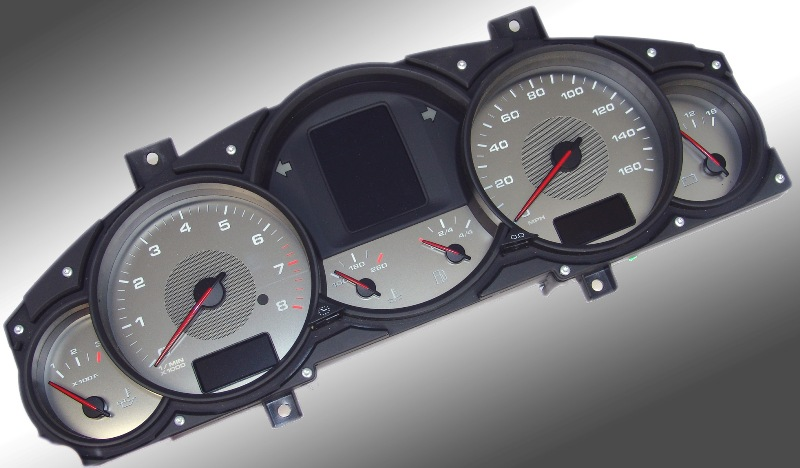Porsche Cayenne 2003-2009 S (no Logo) 160 Mph 8000 Tach Stainless Steel Gauge Face With White Numbers