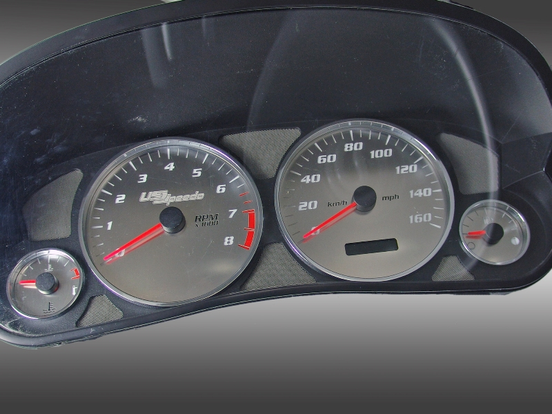 Cadillac Cts 2005-2007  Mph Stainless Steel Gauge Face With White Numbers