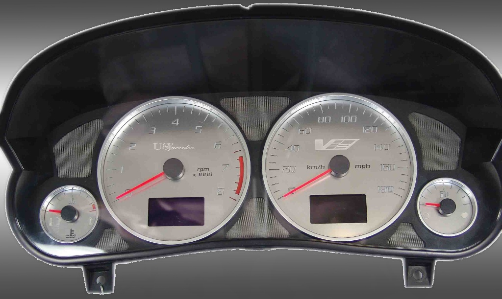 Cadillac Cts 2004-2007 Cts-V Mph Stainless Steel Gauge Face With White Numbers