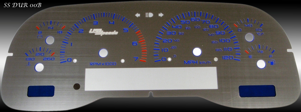 Dodge Durango 2000-2000  7k Tach, Mph Stainless Steel Gauge Face With Blue Numbers