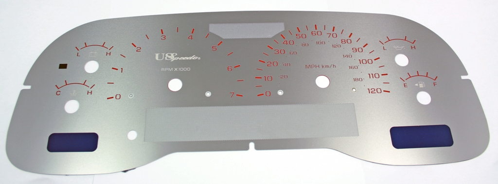 Dodge Dakota 2001-2003  7000 Rpm 120 Mph Stainless Steel Gauge Face With Red Numbers