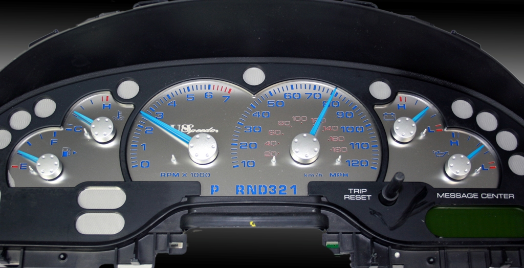 Ford Explorer 2003-2004 W/ Message Center Mph Stainless Steel Gauge Face With Blue Numbers