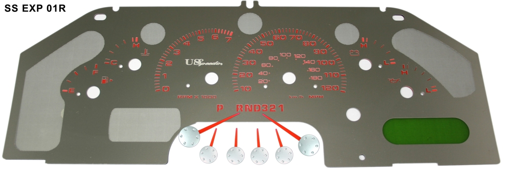 Ford Explorer 2006-2004 W/ Message Center Mph Stainless Steel Gauge Face With Red Numbers