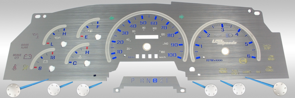 Ford Expedition 1997-1998  Mph, Analog, Tach Stainless Steel Gauge Face With Blue Numbers
