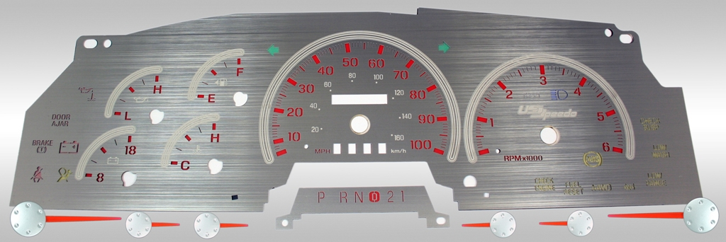 Ford F150 1997-1998  Mph, Analog, Tach Stainless Steel Gauge Face With Red Numbers