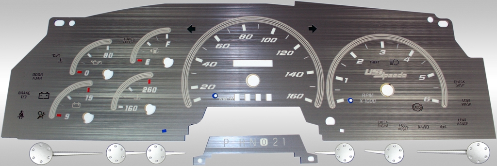 Ford Expedition 1997-1998  Mph, Analog, Tach Stainless Steel Gauge Face With White Numbers