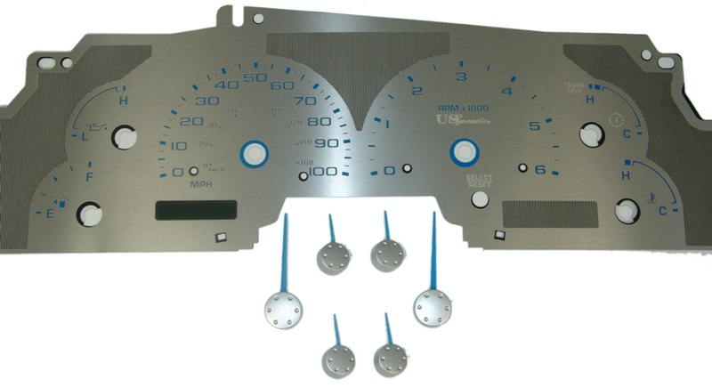Ford Expedition 1999-2003  W/Tach Stainless Steel Gauge Face With Blue Numbers