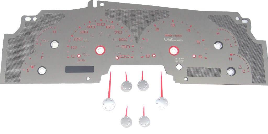 Ford Expedition 1999-2003  W/Tach Stainless Steel Gauge Face With Red Numbers