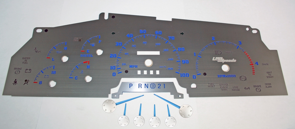 Ford Super Duty 1999-2002 F-250, F-350 Diesel  Stainless Steel Gauge Face With Blue Numbers