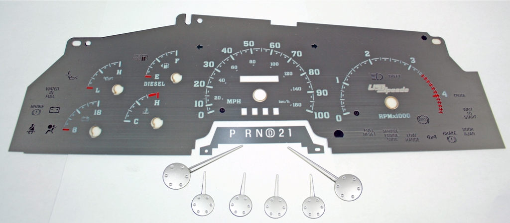 Ford Super Duty 1999-2002 F-250, F-350 Diesel  Stainless Steel Gauge Face With White Numbers