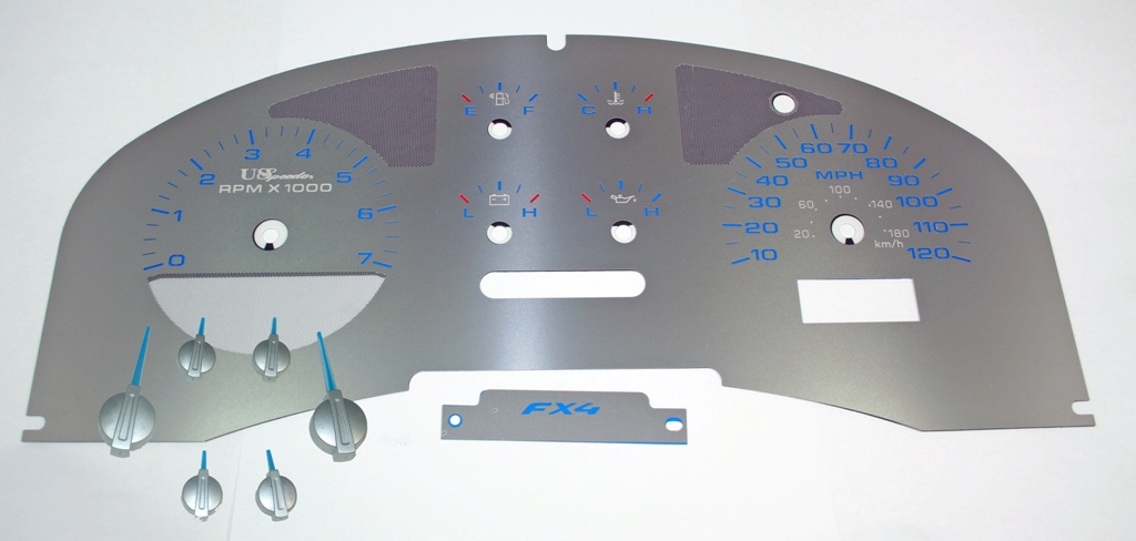 Ford F150 2004-2006 Fx4 Only Fx4 Stainless Steel Gauge Face With Blue Numbers