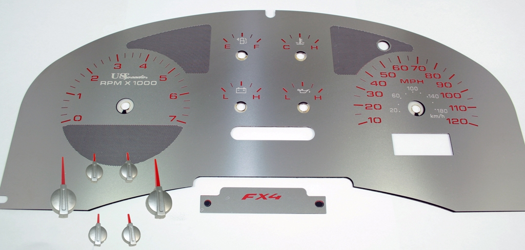 Ford F150 2004-2006 Fx4 Only Fx4 Stainless Steel Gauge Face With Red Numbers