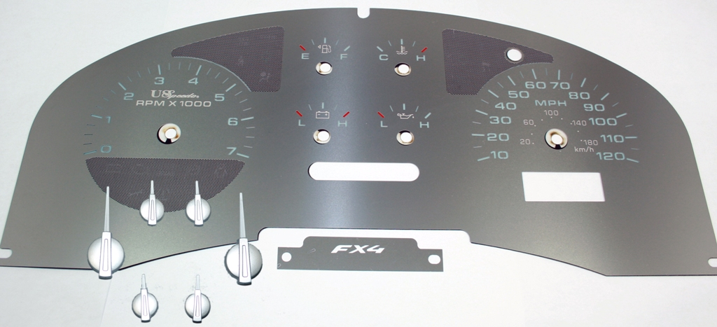 Ford F150 2004-2006 Fx4 Only Fx4 Stainless Steel Gauge Face With White Numbers