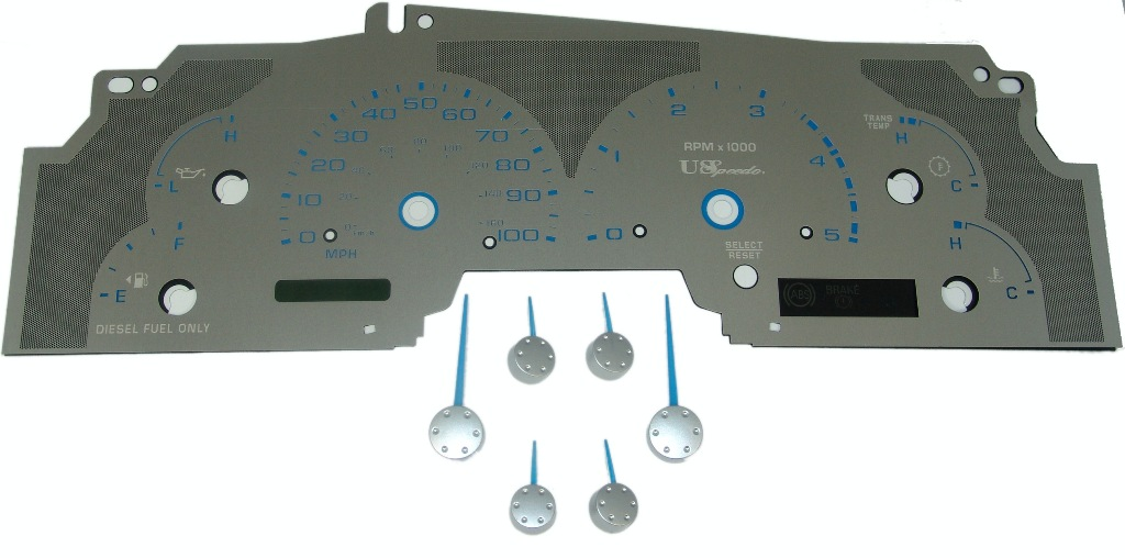 Ford Super Duty 2003-2004 F-250, F-350 Diesel Stainless Steel Gauge Face With Blue Numbers
