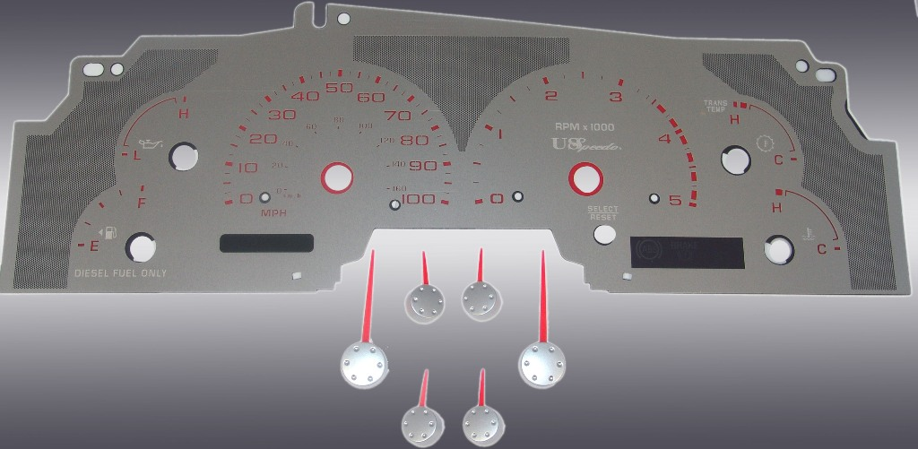 Ford Super Duty 2003-2004 F-250, F-350 Diesel Stainless Steel Gauge Face With Red Numbers