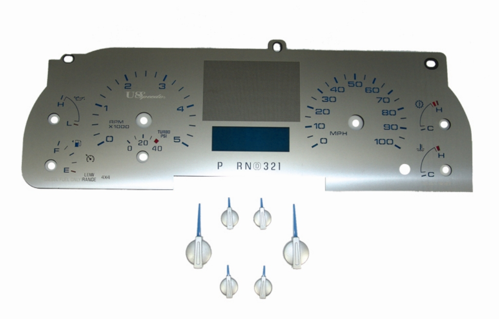 Ford Super Duty 2005-2007 F250  F350 Diesel Auto With Trip Stainless Steel Gauge Face With Blue Numbers