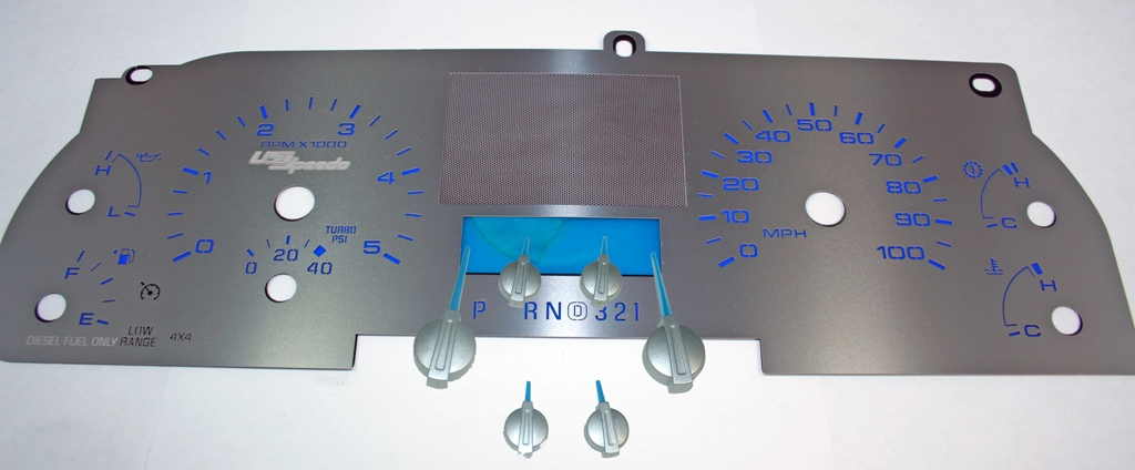 Ford Super Duty 2005-2007 F250  F350  Lariat Diesel Without Trip Button Stainless Steel Gauge Face With Blue Numbers