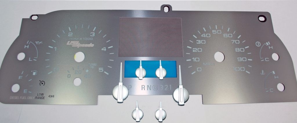 Ford Super Duty 2005-2007 F250  F350  Lariat Diesel Without Trip Button Stainless Steel Gauge Face With White Numbers