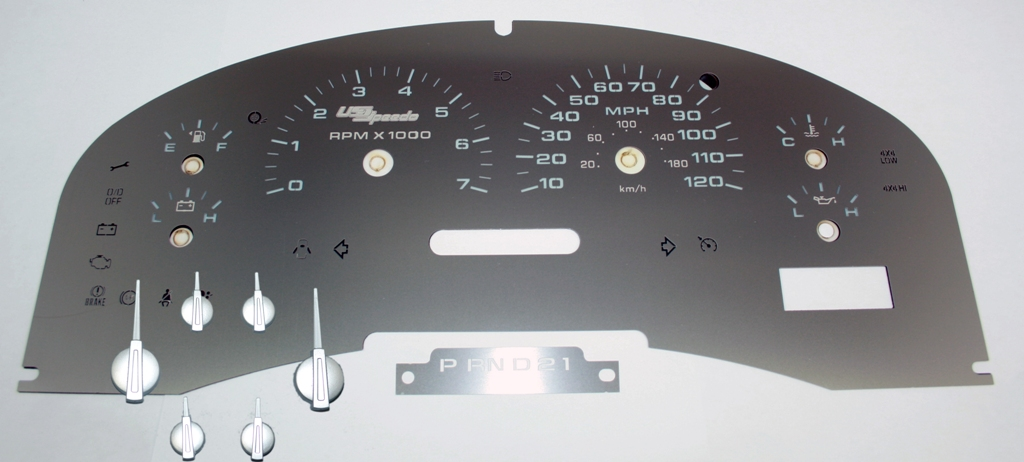 Ford F150 2007-2008 Xlt Only  Stainless Steel Gauge Face With White Numbers