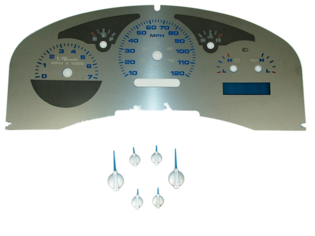 Ford F150 2007-2008  Lariat Stainless Steel Gauge Face With Blue Numbers