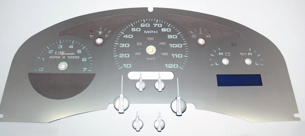 Ford F150 2007-2008  Lariat Stainless Steel Gauge Face With White Numbers