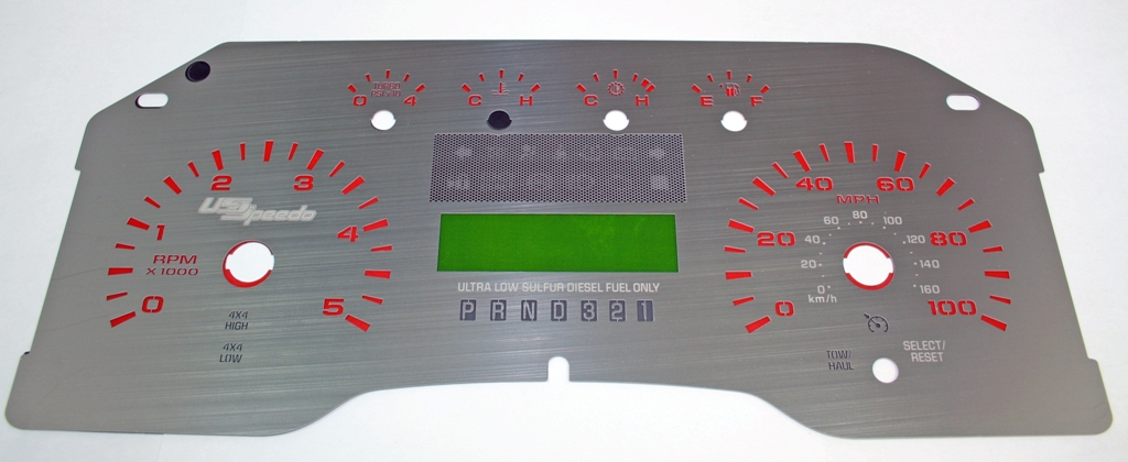 Ford Super Duty 2008-2009 F250  F350 Diesel Auto Stainless Steel Gauge Face With Red Numbers