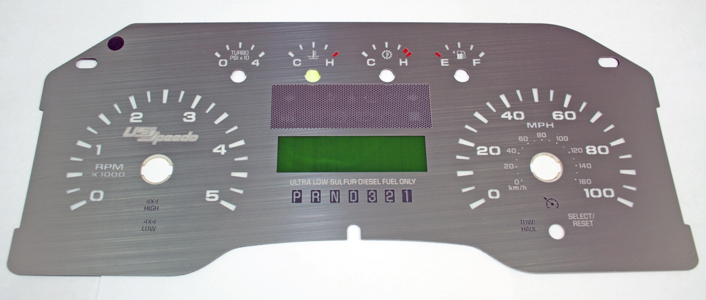 Ford Super Duty 2008-2009 F250  F350 Diesel Auto Stainless Steel Gauge Face With White Numbers