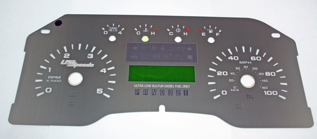 Ford Super Duty 2008-2009 F250  F350  Diesel Lariat Without Trip Button Stainless Steel Gauge Face With White Numbers