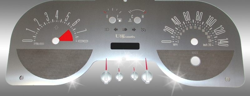 Ford Mustang 2005-2008 Gt 4 Gauge Mph 8000 Tach 140 Mph Stainless Steel Gauge Face With White Numbers