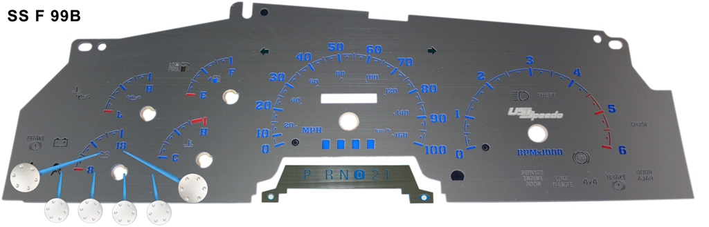 Ford Super Duty 1999-2001 F250, F350, Excursion Gas Mph Stainless Steel Gauge Face With Blue Numbers