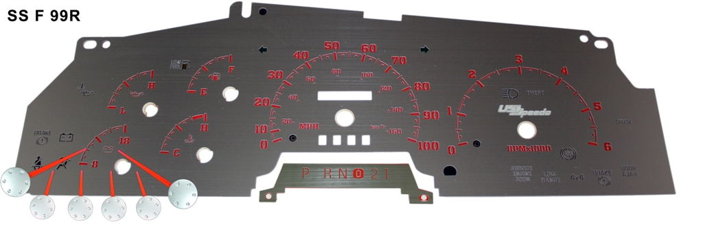 Ford Super Duty 1999-2001 F250, F350, Excursion Gas Mph Stainless Steel Gauge Face With Red Numbers