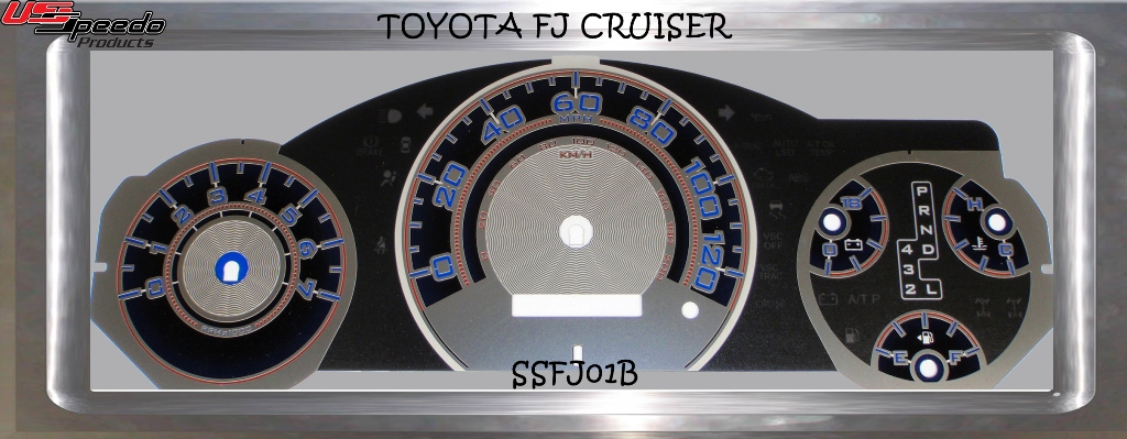 Toyota Fj 2007-2009 Cruiser Mph Auto Stainless Steel Gauge Face With Blue Numbers