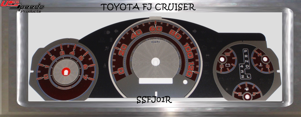 Toyota Fj 2007-2009 Cruiser Mph Auto Stainless Steel Gauge Face With Red Numbers